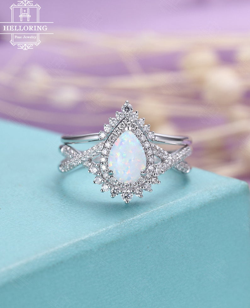 Pear shaped opal engagement ring