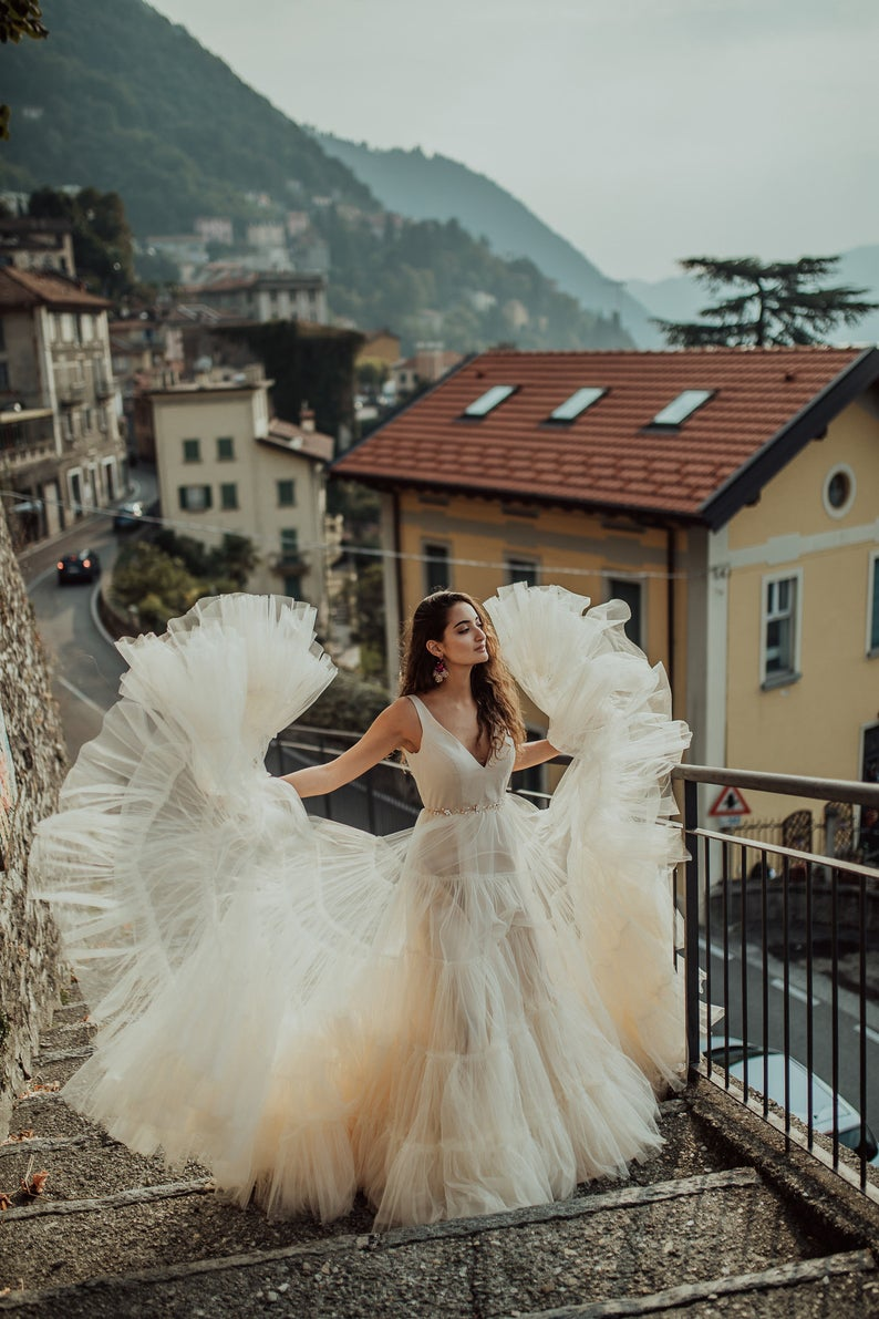Nude Tulle Wedding dress