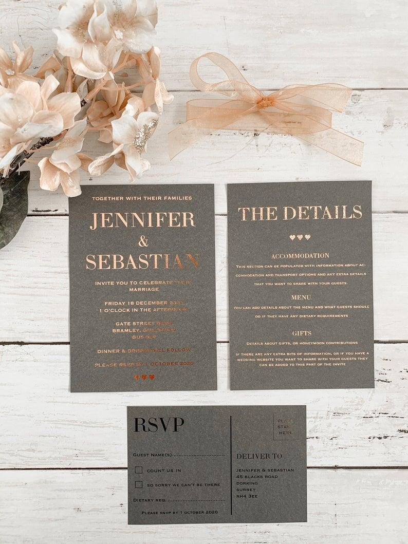 Rose Gold Wedding Stationery