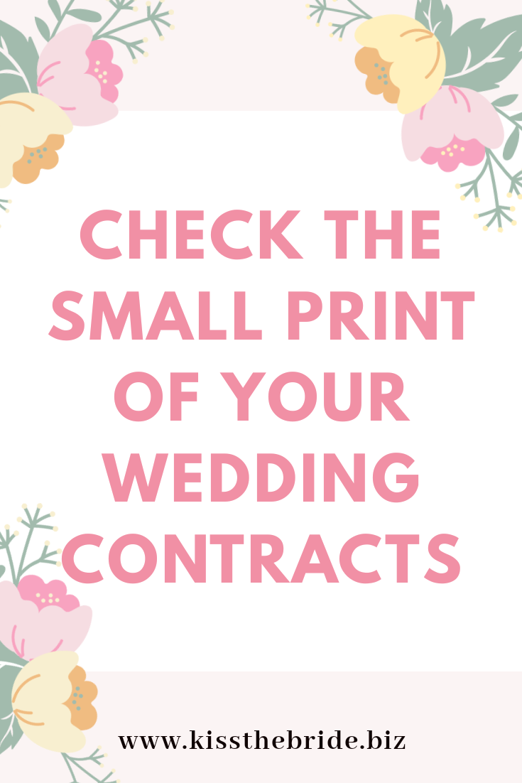 10 Things hidden in the Small print of your wedding contract