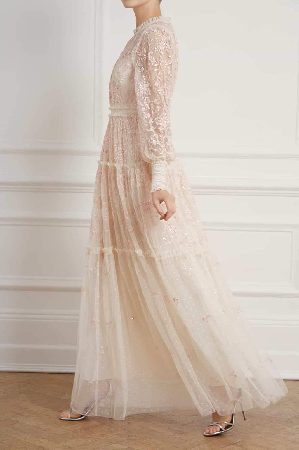 Champagne Long sleeve wedding dress