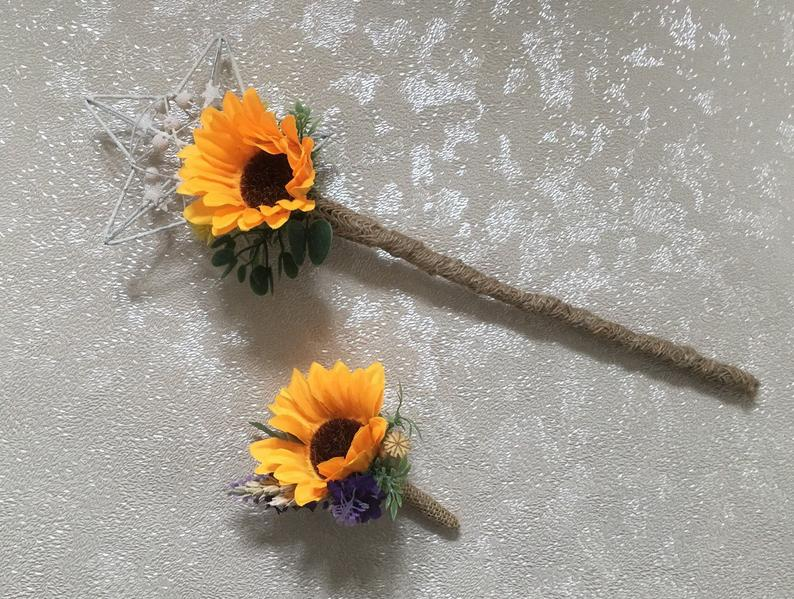 Sunflower Flower girl wand