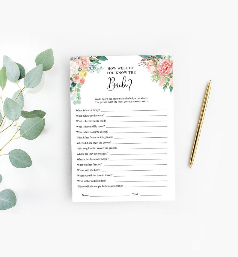 How well do you know the Bride printables
