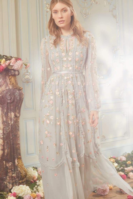 Pastel Blue Floral wedding dress