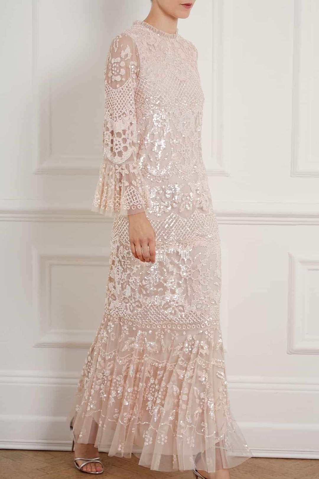 Pale pink lace wedding dress