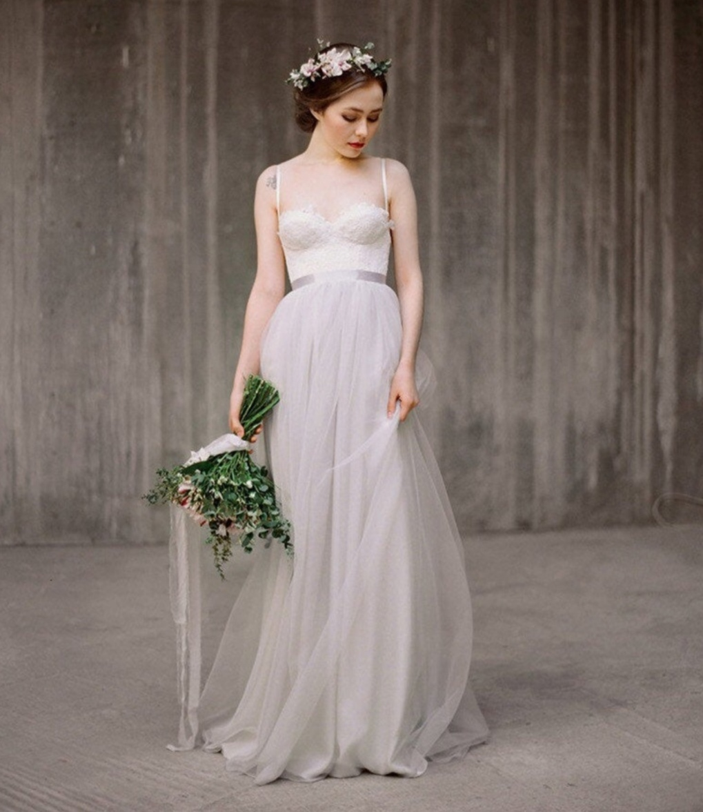 Grey wedding dress skirt