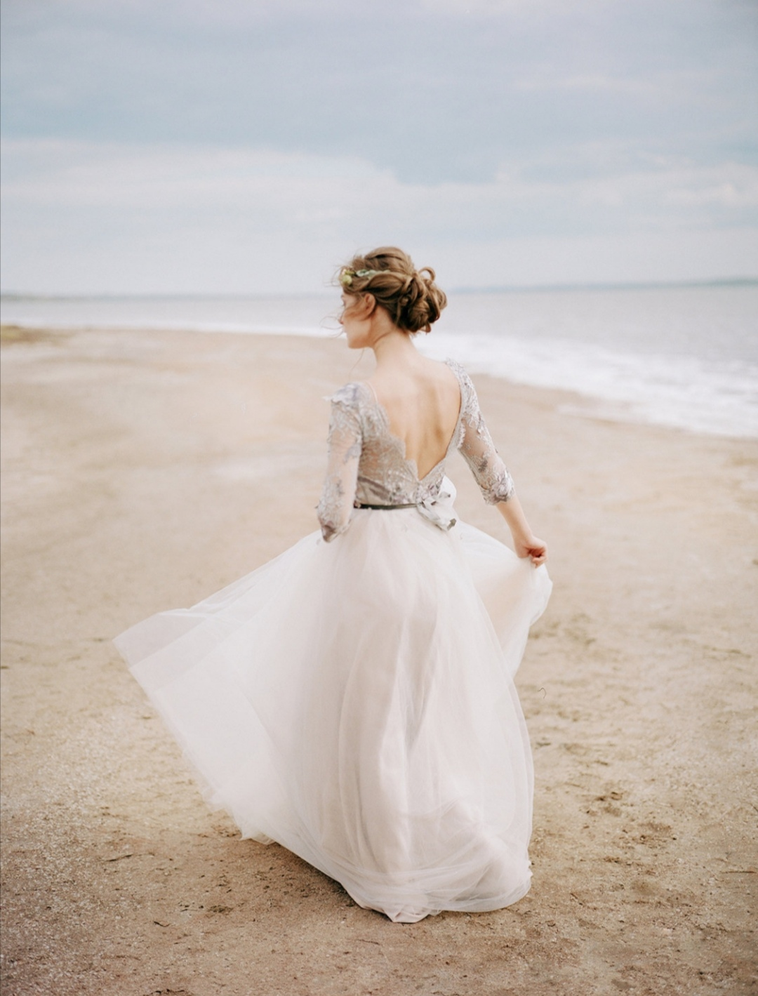 Grey lace wedding dress