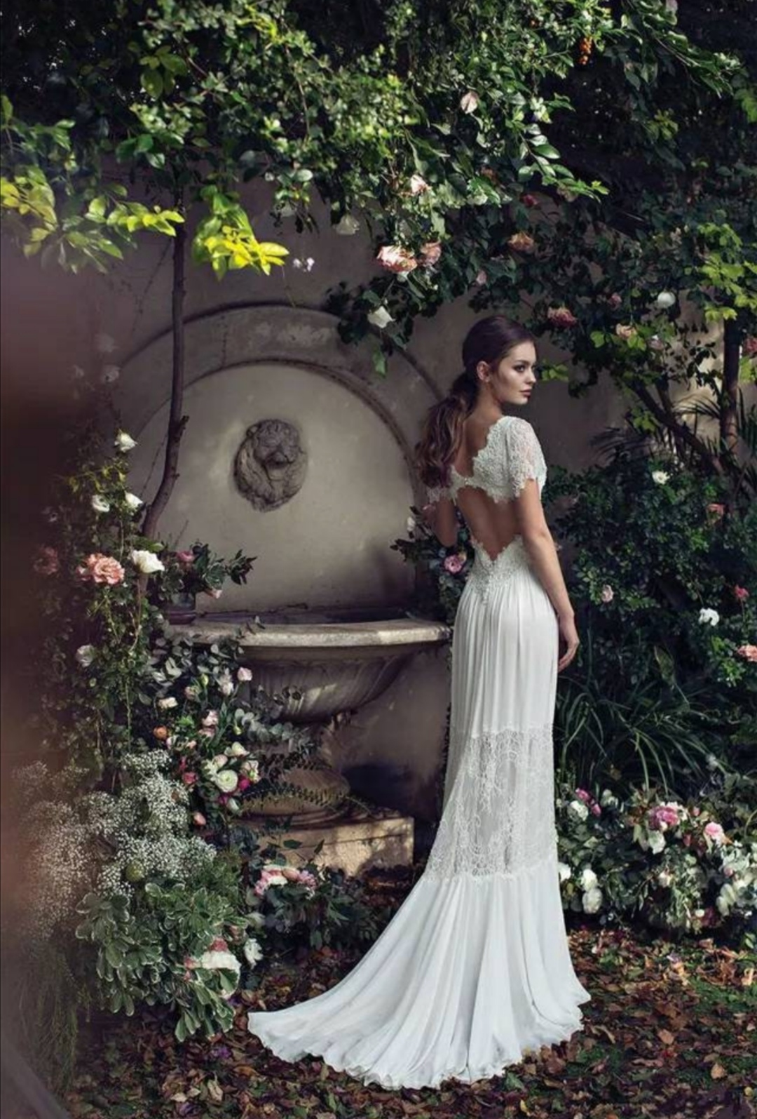 Boho open back wedding dress