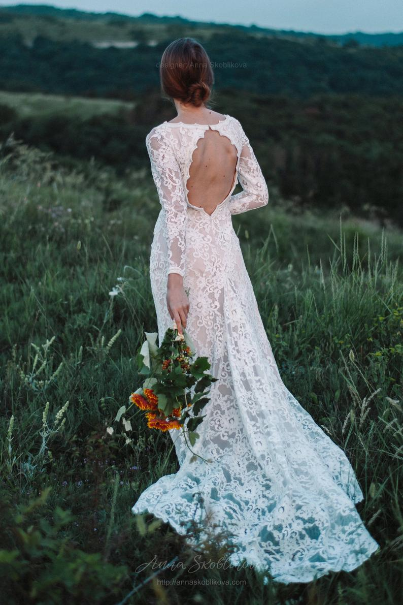 Backless long sleeve lace wedding dress
