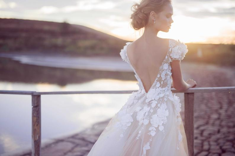Deep v back wedding dress