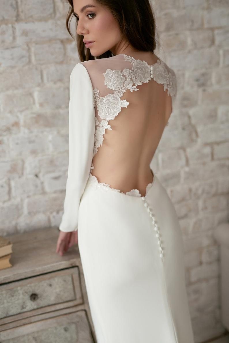 Cut out back wedding dress