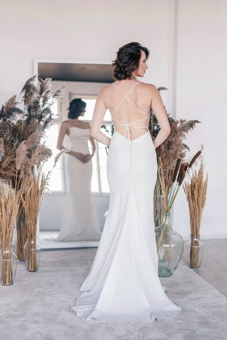 Minimalist silk open back wedding dress