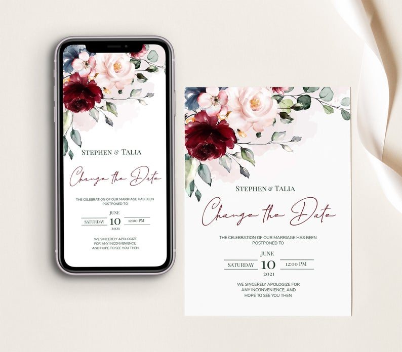 Floral change the date printables