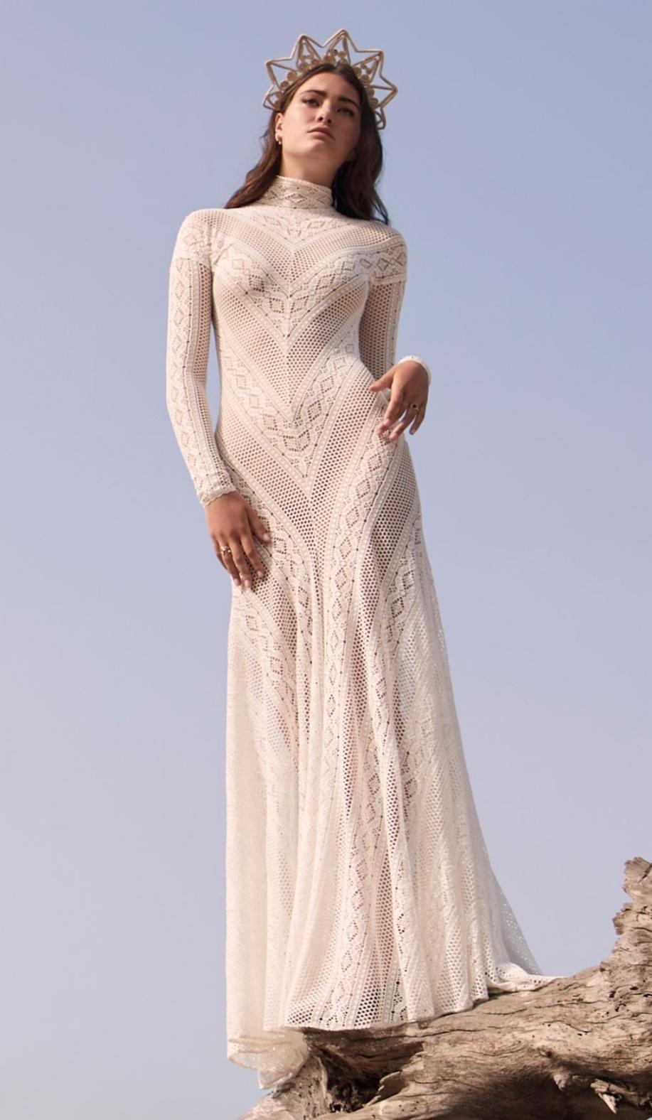 Crochet high neck Boho wedding dress