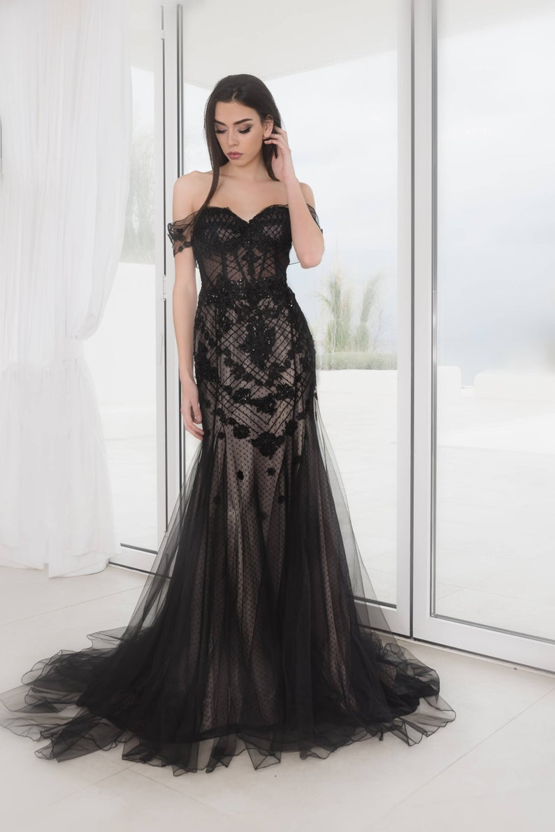 Black off the Shoulder wedding dress