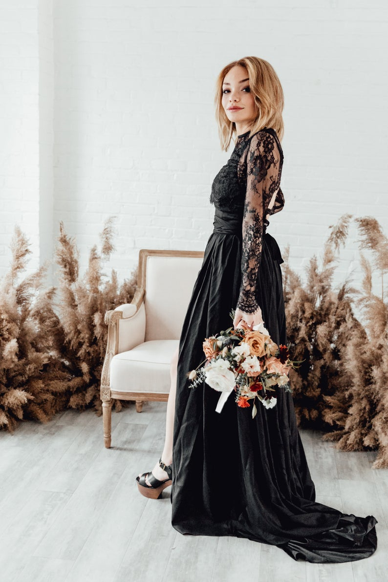Long sleeve black lace wedding dress