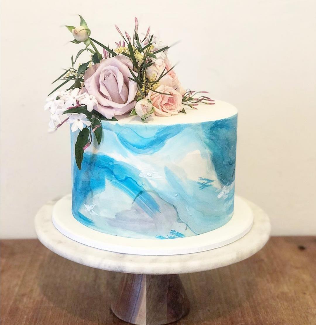 Single Tier watercolour wedding cake