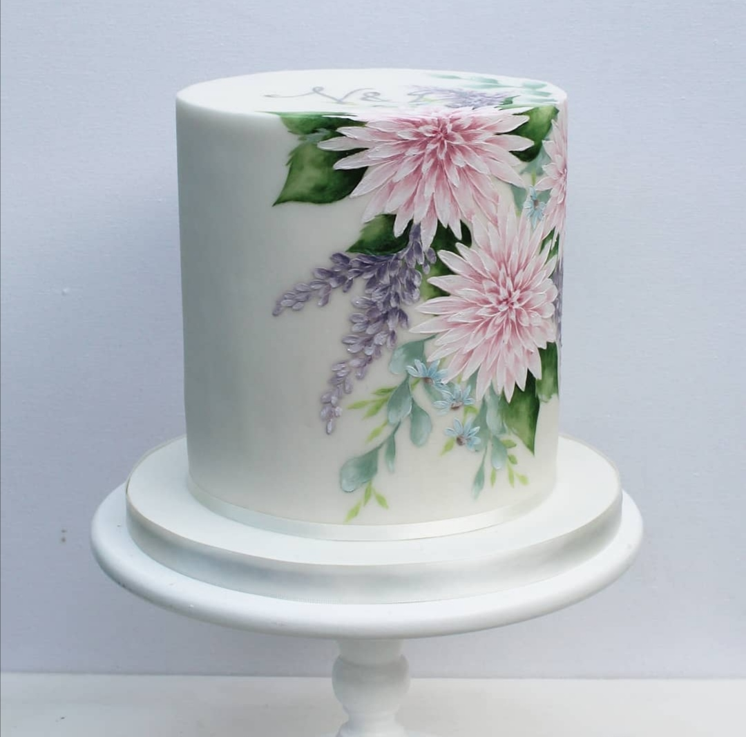 Single Tier floral wedding cake