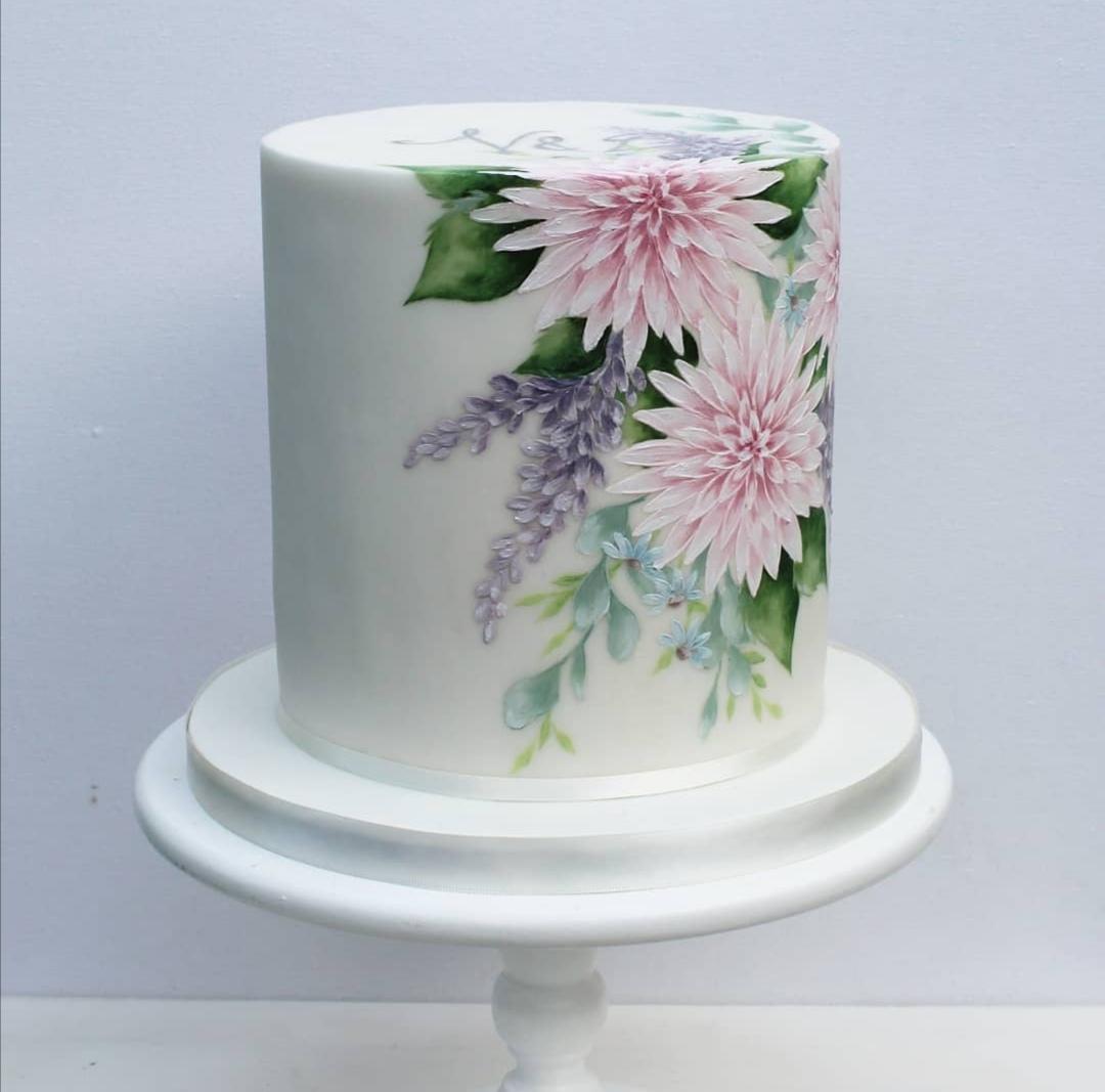 Single Tier floral wedding cake