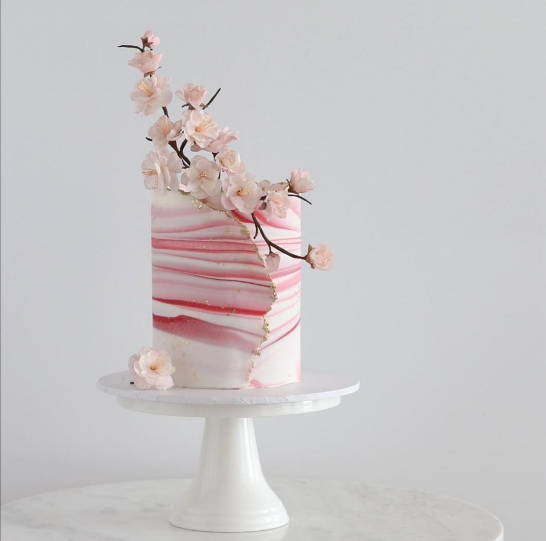 Pink Ombre stripe single tier wedding cake