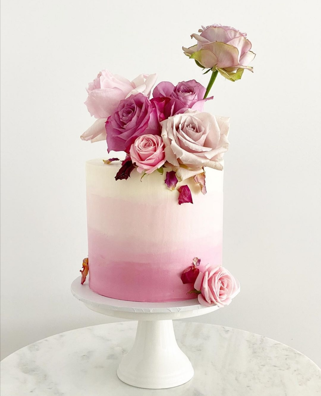 Pink Ombre single tier wedding cake