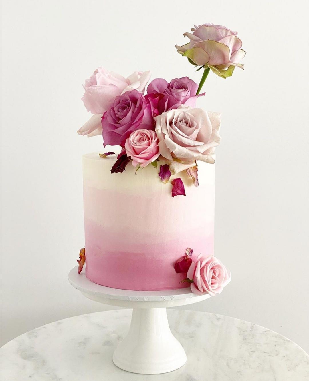 Pink Ombre single tier wedding cake