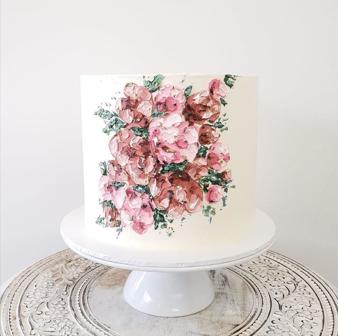 Buttercream single tier wedding cake