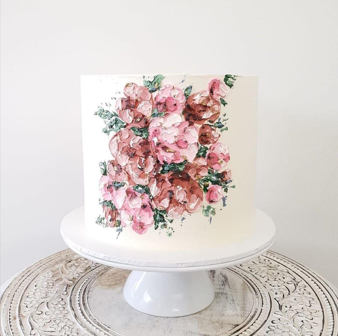 Buttercream single tier wedding cake