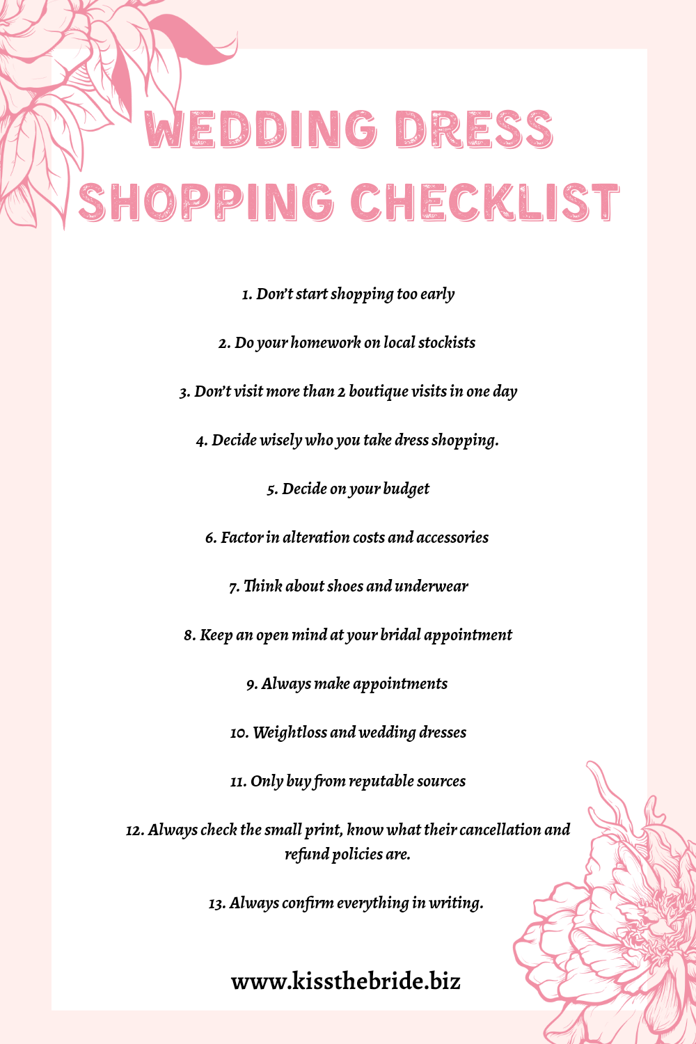 Wedding dress shopping checklist