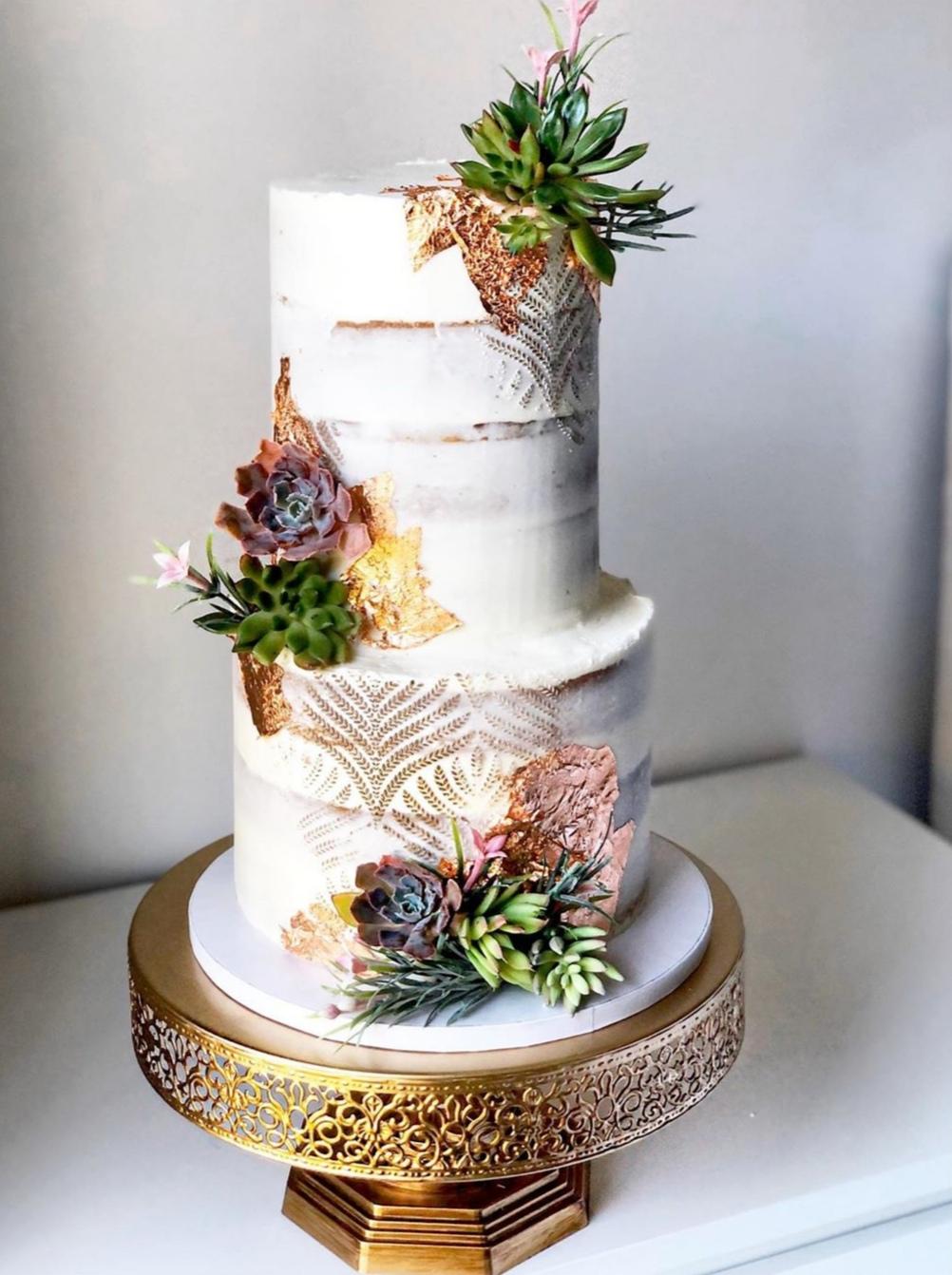 Semi naked succulent wedding cake