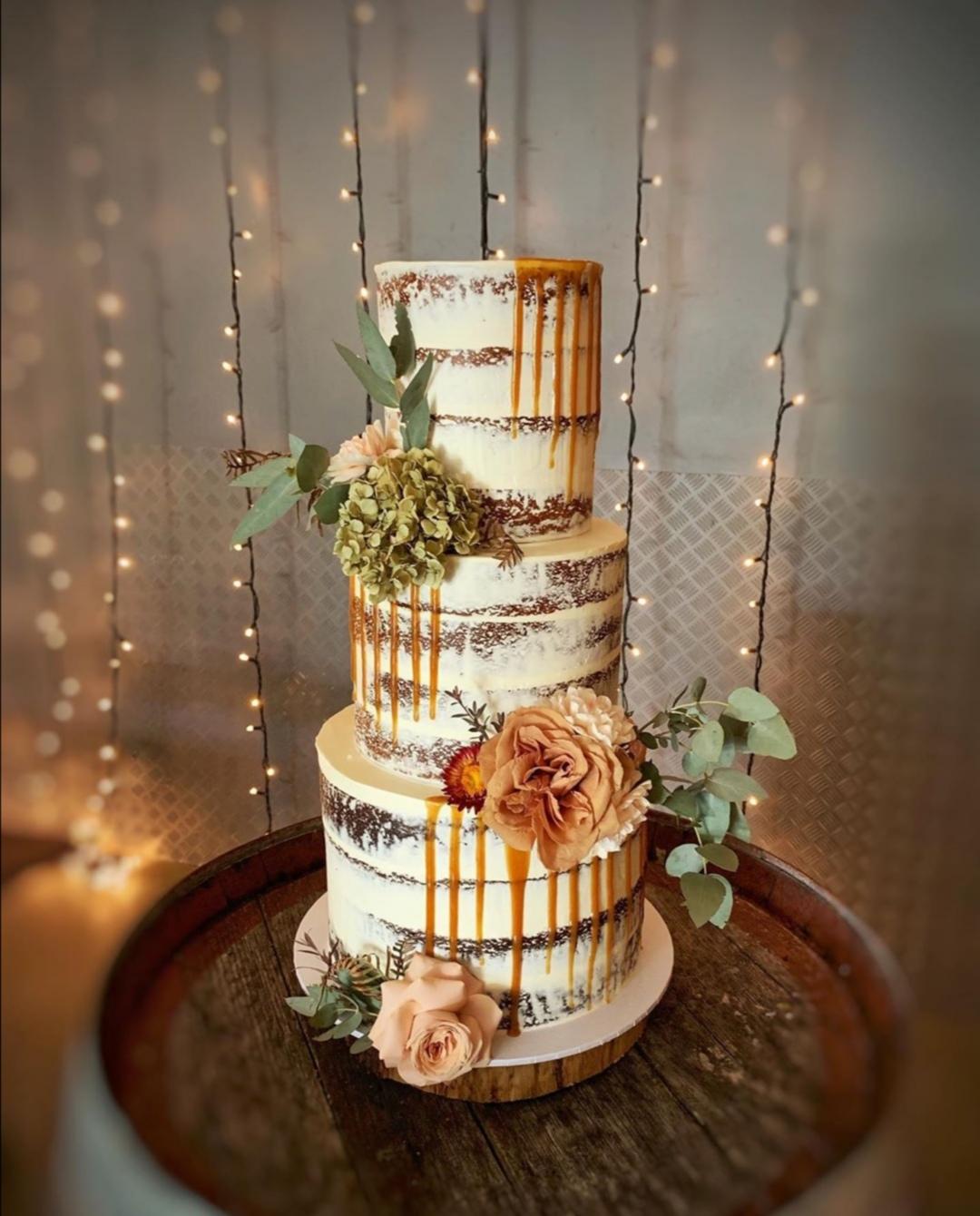 Caramel drip naked wedding cake