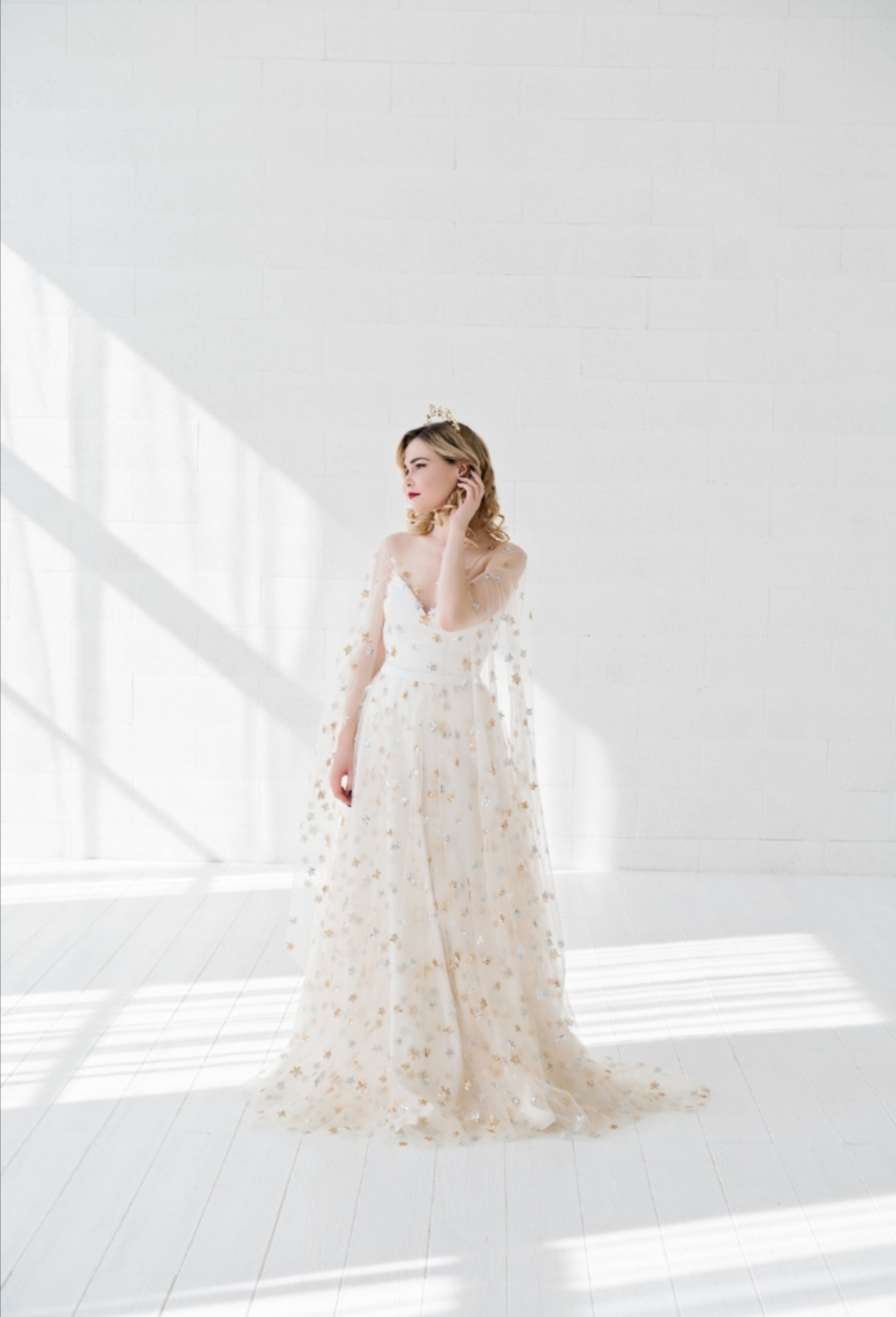 Gold and silver star wedding dress