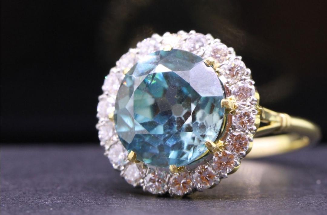 10.5 carat blue Zircon Victorian engagement ring